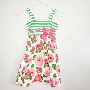 Young land Floral Bow Striped Green Pink Dress